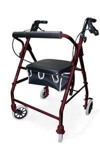Soft Seat Aluminum Rollator with Straight Backrest - Color: Burgundy - Each 1