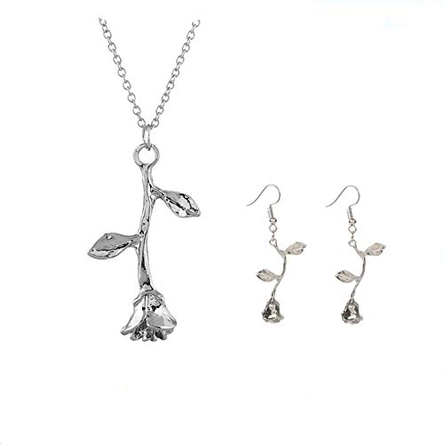Rose Flower Earring Pendant Necklace Rose Vintage 3D Personalized Rose Metal Flower Necklace Beast Rose Flower Dangle Earrings Romantic Rose Jewelry Set for Women Gril Gift (platinum-plated-alloy) ()