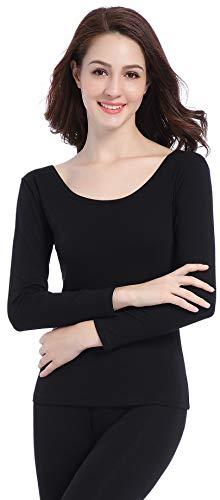 Cotton Print Long Underwear (Women Long Thermal Underwear Breathable Base Layer Set Scoop Neck Winter Pajamas)