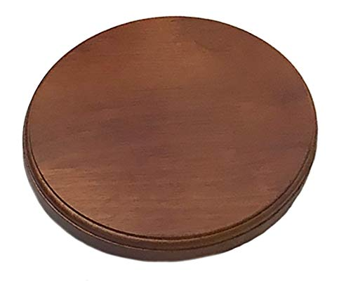 (Luna Bean Wooden Platform Base Display Walnut Finish for Casting Kits - Solid Wood Plaque - Circular Round 6