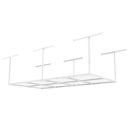 FLEXIMOUNTS 4'X8′ Heavy Duty Overhead Garage Adjustable Ceiling Storage Rack, 96″ Length x 48″ Width x 40″ Height, White, 96″ Length X 48″ I X 40″ I