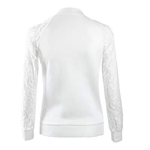 Cappotti Giacca Tops Donna Coat Casual Cucitura Zip Giacche Bianco Jacket Outerwear Pizzo Cime Con Moda Primavera Yq0Xww