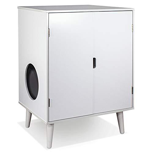 Penn-Plax CATFF21 Cat Walk Furniture: Contemporary Home Cat Litter Hide-Away Cabinet – All White