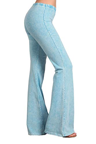 Zoozie LA Women's Bell Bottoms Yoga Stretch Pants High Waist Tie Dye Sky Blue M ()