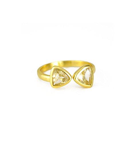 - SPARKLER JEWELS Lemon Quartz,Triangle,925 Sterling Silver,Handmade Bezel Ring,Gemstone Rings,Fashionable Rings
