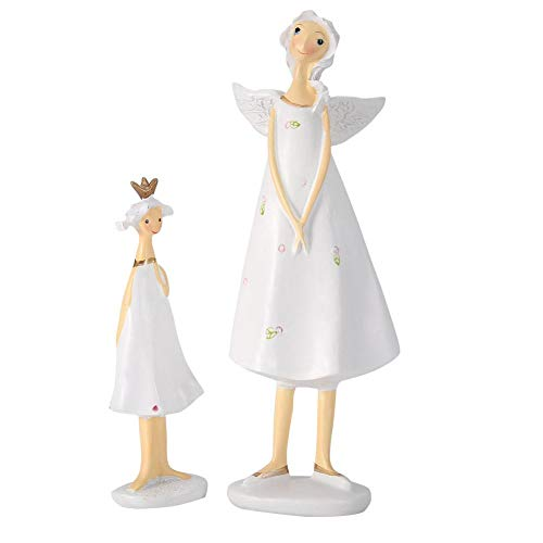 (Vruping Chic Home Decor Figurines, Hand Painted Ceramic White Mom and Daughter Resin Figurines Handicraft Figure, Smooth Figurines with Fine Glossy Ideal for Home Office Chic Decor)