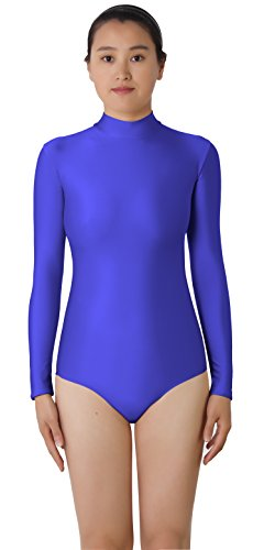JustinCostume Women's High Neck Long Sleeved Spandex Leotard Bodysuit, S, (Halloween Costumes Low Prices)