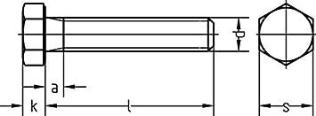 galv M 12 x 30 100 St/ück, Dresselhaus 0//0222//001//12,0//30// //01 Sechskantschrauben 8.8 mit Gewinde bis Kopf DIN 933 verzinkt