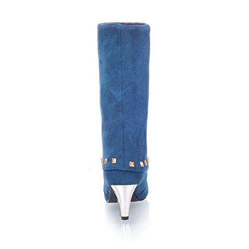 Balamasa Da Donna Borchiati Rivetti Con Tacco Grosso Stivali Imitato In Pelle Blu