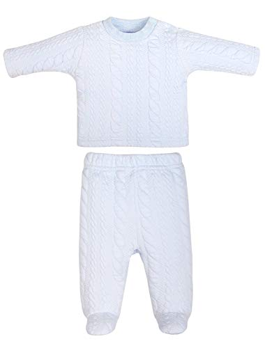 Baby Boys Girls Warm Long-Sleeve Footed Pajamas Tee and Pant 2-Piece PJ Set Sleep and Play Winter (Blue Stripe Set,12-18M)