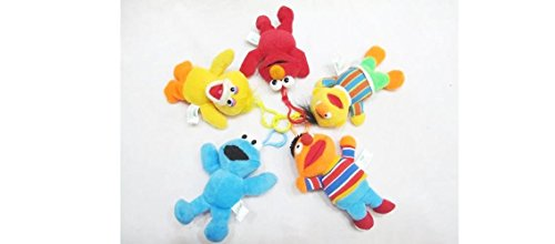 Sesame Street 5 pc Plush Clip Set : Elmo, Cookie Monster, Big Bird, Ernie and Bert