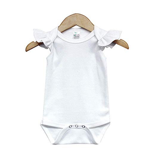 Laughing Giraffe Baby Girl Blank Flutter Short Sleeve Bodysuit Onesie (0-3M, White)