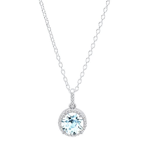 Dazzlingrock Collection 10K 6.5 MM Round Gemstone White Diamond Ladies Halo Pendant Silver Chain Included , White Gold