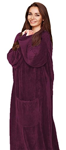 (SILVER ONE Cozy Wearable Fleece Throw Blanket with Pocket, Comfy Robe for Men or Women)