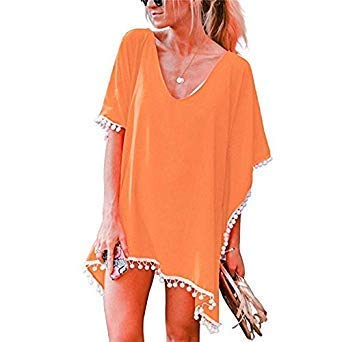 afb00bf2ae Puseky Women Swimsuit Cover Ups Beach Shirt Solid Color Chiffon Beach Cover  Up White Black Color Orange Size One Size: Amazon.in: Home & Kitchen