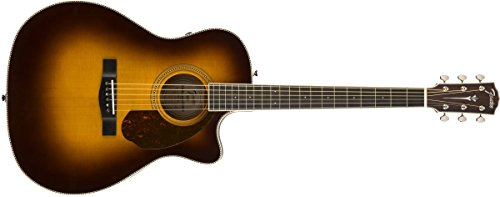 Body Vintage Guitar Acoustic - Fender Paramount PM-4CE Acoustic Guitar - Auditorium Body Style - Ovangkol Fingerboard - With Case - Vintage Sunburst