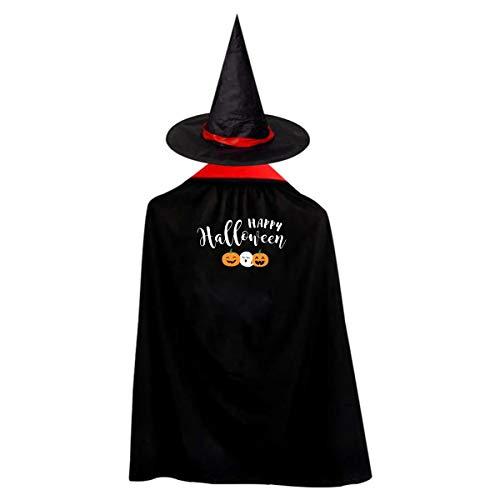 Halloween Children Costume Happy Halloween Wizard Witch Cloak Cape Robe And Hat Set ()