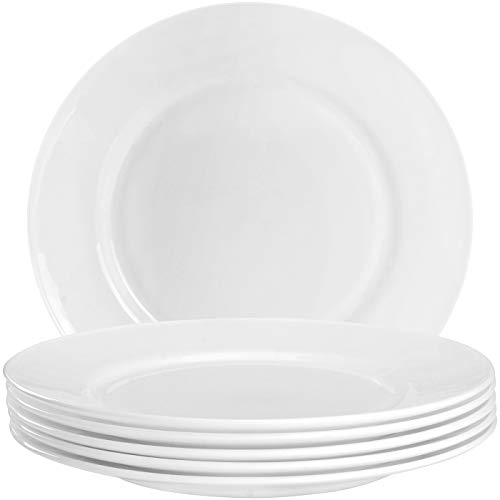 Opal Salad Plate - 6-Piece Flat Edge Dinner Plate Set 10.5 Inches - Dishwasher Safe Opal Glassware - Microwave/Oven Friendly