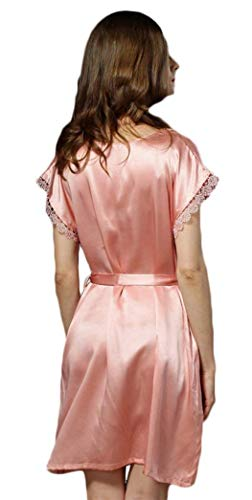 Anchas Unicolor De Camisones Ropa Manga Verano Cómodo Silk Casuales Suave Dormir Pijama Cortos Rosa Corta Cuello Elegantes Vestido Redondo Mujer Fashion Camisón pnUwq6paf
