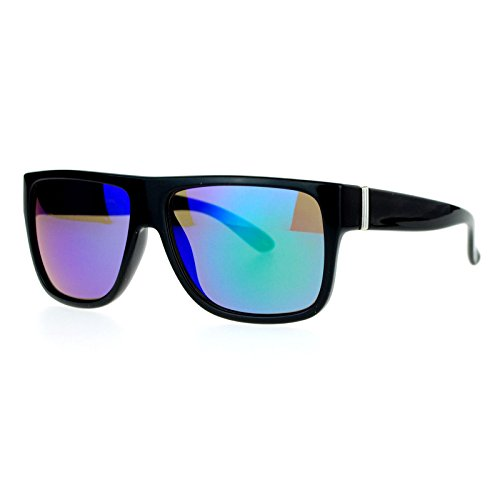 SA106 mirrored Color Mirror Lens Flat Top Mobster Sunglasses Black - Mobster Sunglasses