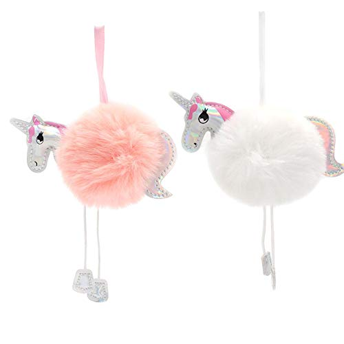PartyTalk Unicorn Party Supplies 10pcs Faux Fur Pom Pom Unicorn Keychain Party Favors for Girls Gifts Unicorn Party Hanging Decorations, White & Pink Fluffy Ball Car Bag Key Pendant
