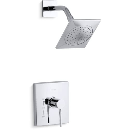 KOHLER Stance 1-Spray 6.3 in. Single Wall Mount Fixed Shower Head in Polished Chrome