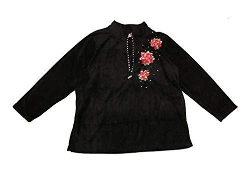(Quacker Factory Womens Plus Size Rhinestones Poinsettia Embroidery 1X Black)