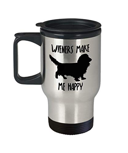 Long Haired Dachshund Travel Mug - Insulated Portable Long Hair Wiener Dog Lover Coffee Cup With Handle & Lid - Funny Christmas Gag Gift Idea For Women & Men - Novelty Doxie Owner Quote Accessories