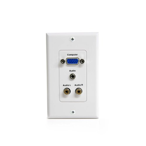 Vga Startech Wall (StarTech.com VGAPLATERCA 15-Pin Female VGA Wall Plate with 3.5mm and RCA - White)