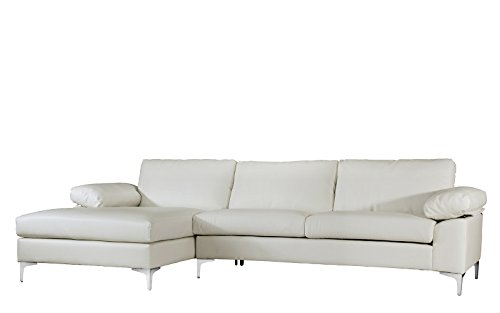 Casa Andrea Modern Large Faux Leather Sectional Sofa, L-Shape Couch with Extra Wide Chaise Lounge (White)