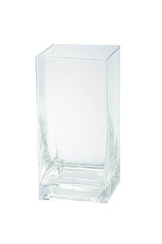 Vase Square 8 (Diamond Star Glass Clear Square Container, 4