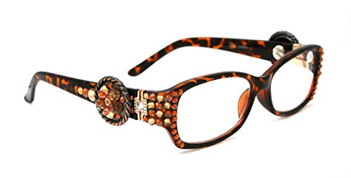 The Medallion, ROPE, Bling Light Colorado & Cooper SWAROVSKI Crystals Women Reading Glasses w/Round ROPE edge Concho +1.50 +2.00 +2.50 +3.00 Brown Tortoise Shell
