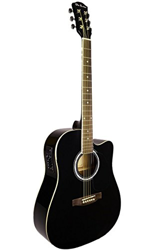 Directlycheap 6 String Acoustic-Electric Guitar, Black, Right Handed (GA204CE-BK+Lessons)
