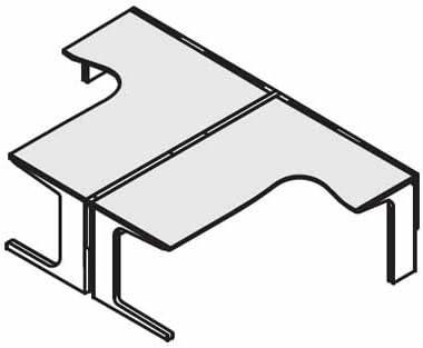 コクヨ レヴィスト デスクシステム ブースタイプ独立テーブル 両面タイプ L脚タイプ リターン部奥行き500mm仕様 幅1600×奥行き2800mm 本体色:SAW(ホワイト)/天板色:MB3(ミディアム)