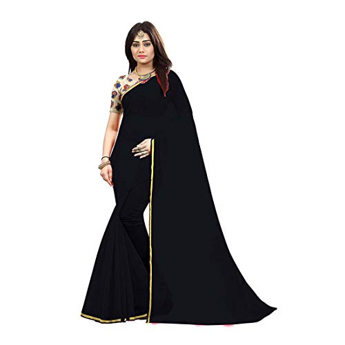 Blouse With Handicrfats Piece Indian Export Women's Saree Zari Chiffon Embroidery 8nOqU