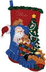 Bucilla Santa's Catnap Stocking Felt Applique Kit (Felt Santa Applique)