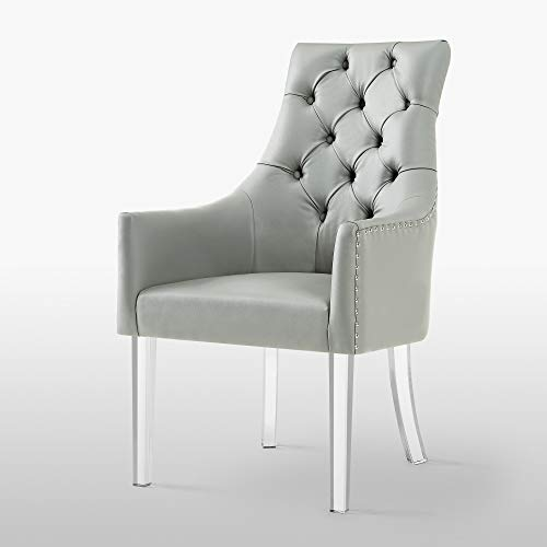 Inspired Home Judy Button Tufted Armed Dining Chair Set of 2 Grey Leather
