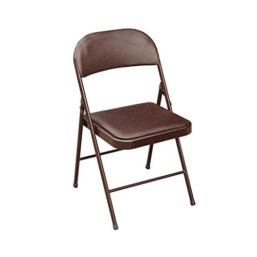 Folding Chair Backrest Computer Chair Office Meeting Iron+Faux Leather Brown ()