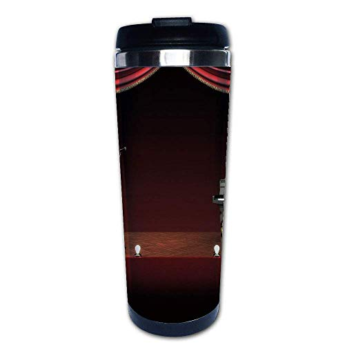 Stainless Steel Insulated Coffee Travel Mug,Orchestra Symphony Theme Stage Curtains Piano Cello,Spill Proof Flip Lid Insulated Coffee cup Keeps Hot or Cold 13.6oz(400 ml) Customizable - Mug Symphony