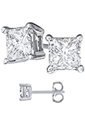 16.00 carat Cubic Zirconia Princess Cut 925 Sterling Silver Stud Earrings. 8.00 Carat Each Stone
