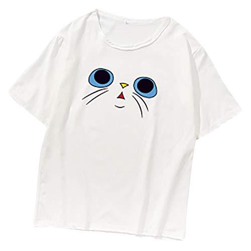 ✦ HebeTop ✦ Women Summer Funny Print Short Sleeve Top Tee Graphic Cute T-Shirt White