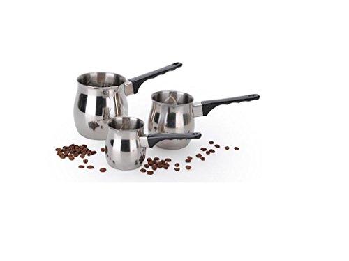 Home ground N Kitchenware Collection 3pc Set Coffee Warmer & Server Set, Stainless Steel, Bakelite Handle, Turkish Coffee, Expresso Decanter, Pitcher (24oz / 12oz / 6oz Warming Pots),