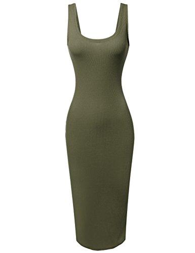 Sleeveless Midi Length Rib Tank Dress Olive Size L