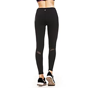 RUNNING GIRL Women's Moto Legging Mesh Yoga Pants White Workout Leggings With Hidden Pockets(1050Black,M)