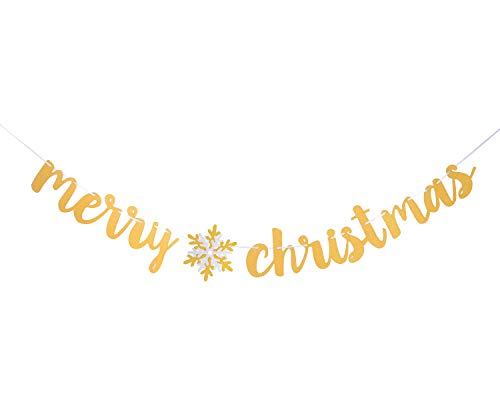 - Qibote Merry Christmas Banner Gold Glitter Christmas Party Props Garland Bunting Sign for Christmas Party Decoration Favors