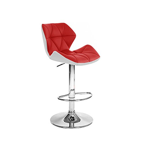 Spyder Contemporary Adjustable Barstool - White Red