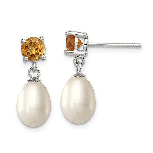 Yellow Citrine 8mm Freshwater Cultured Pearl Teardrop Post Stud Earrings Drop Dangle Fine Jewelry For Women Gift Set ()