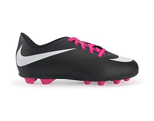 NIKE Kids Bravata Fg-R Black/White/Pink Flash Soccer Shoes - 2.5Y