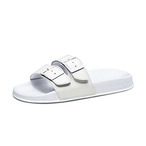 Heart&M La manera del color sólido de las mujeres de tacón bajo suela gruesa con sandalias de los deslizadores Buckles White