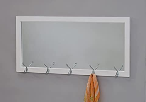 White Finish Wooden Wall Hanging Rectangular Entryway Mirror with 10 Chrome Hooks Coat Rack for Hats, Jackets, - Mirror Coat Hooks